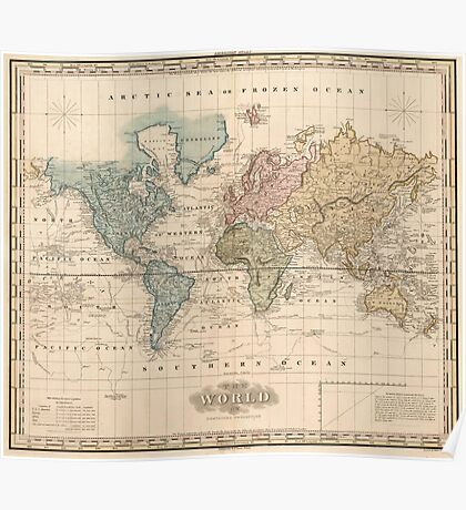 Vintage Map of The World (1823) 2 Poster