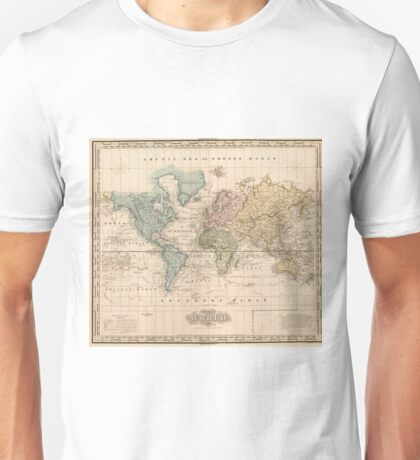Vintage Map of The World (1823) 2 Unisex T-Shirt