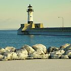 Open waters JANUARY 1909 DULUTH lighthouse by Diane Trummer Sullivan