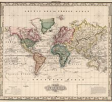 Vintage Map of The World (1833) by BravuraMedia