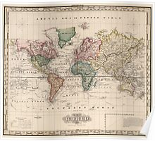 Vintage Map of The World (1833) Poster