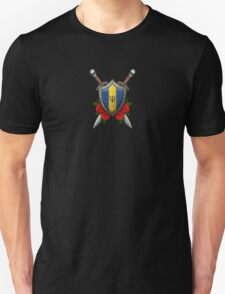 Barbados Flag on a Worn Shield and Crossed Swords Unisex T-Shirt