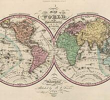 Vintage Map of The World (1842) by BravuraMedia