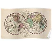 Vintage Map of The World (1842) Poster