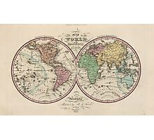 Vintage Map of The World (1842) Photographic Print