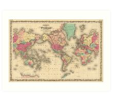 Vintage Map of The World (1860) Art Print