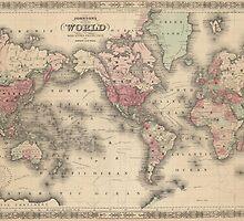 Vintage Map of The World (1864) by BravuraMedia
