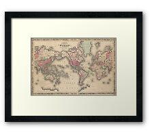 Vintage Map of The World (1864) Framed Print