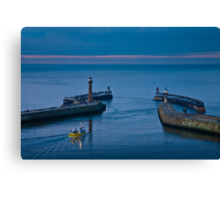 Whitby harbour at dusk Canvas Print