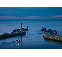 Whitby harbour at dusk Photographic Print
