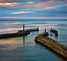 Whitby harbour at sunset by Dave Milnes