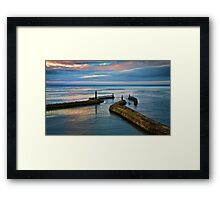 Whitby harbour at sunset Framed Print