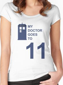 My Doctor Goes to 11. Women's Fitted Scoop T-Shirt
