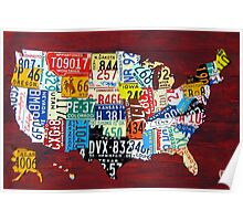 License Plate Map of The United States 2011 Poster