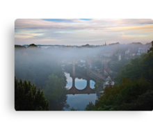 Early morning mist over the river Canvas Print