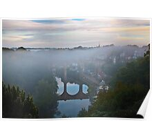 Early morning mist over the river Poster