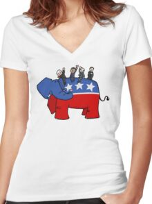 GOP Elephant Women's Fitted V-Neck T-Shirt