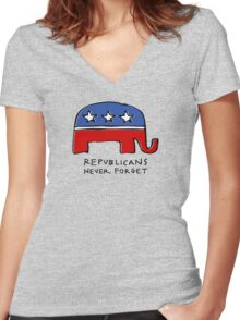 Republicans Never Forget Women's Fitted V-Neck T-Shirt