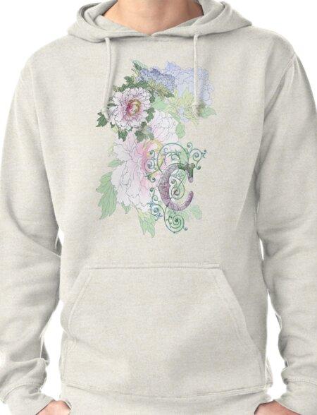 19th C. Peonies, Monogram C Pullover Hoodie