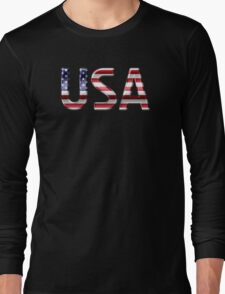 USA - American Flag - Metallic Text Long Sleeve T-Shirt
