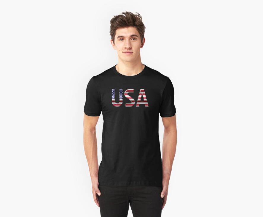 USA - American Flag - Metallic Text by graphix