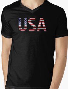 USA - American Flag - Metallic Text Mens V-Neck T-Shirt