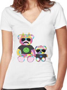 Rainbow Bear with shirts Women's Fitted V-Neck T-Shirt