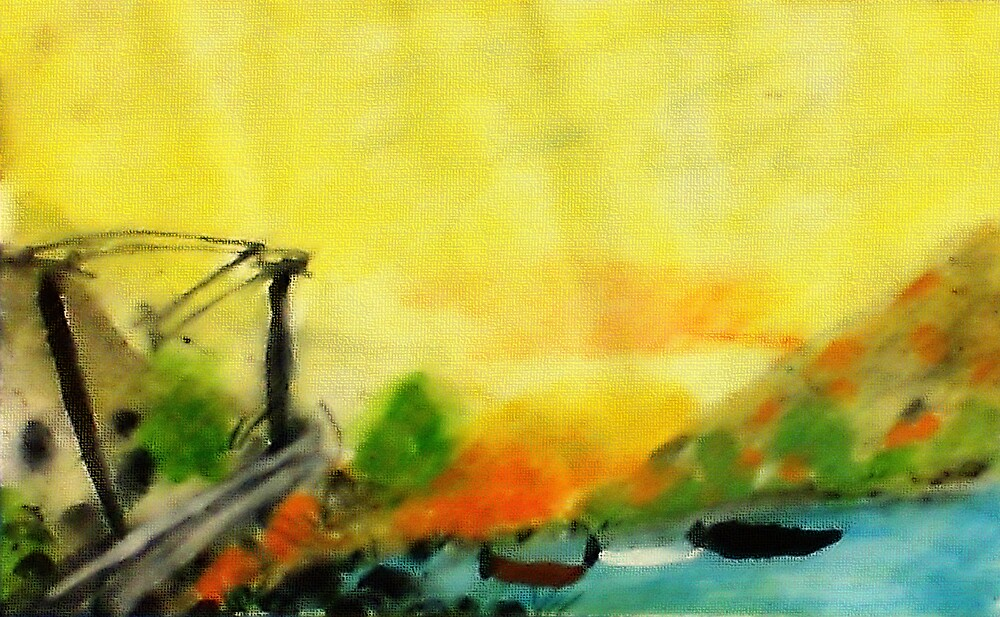 Misty morning for a day on lake, watercolor by Anna  Lewis, blind artist