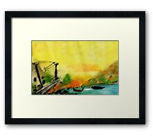 Misty morning for a day on lake, watercolor Framed Print