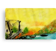 Misty morning for a day on lake, watercolor Canvas Print