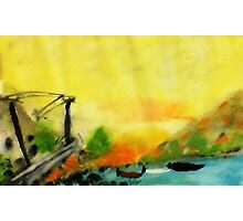 Misty morning for a day on lake, watercolor Photographic Print