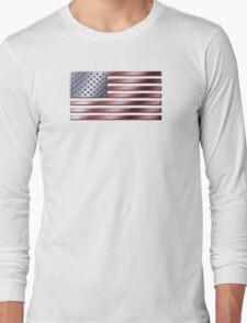 American Flag - USA - Metallic Long Sleeve T-Shirt