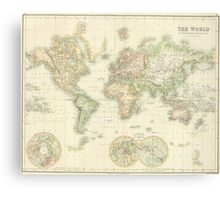 Vintage Map of The World (1872) Canvas Print