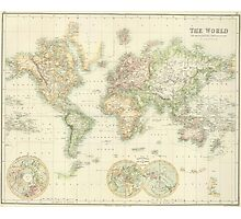 Vintage Map of The World (1872) Photographic Print