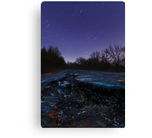 Deserted Highway After Dark Canvas Print