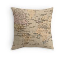 Vintage Map of The World (1880) Throw Pillow