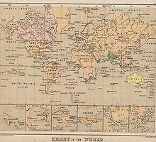 Vintage Map of The World (1880) by BravuraMedia