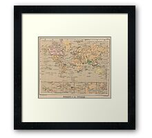 Vintage Map of The World (1880) Framed Print