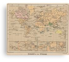 Vintage Map of The World (1880) Canvas Print