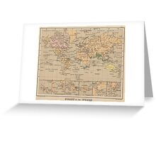 Vintage Map of The World (1880) Greeting Card