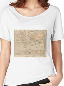 Vintage Map of The World (1880) Women's Relaxed Fit T-Shirt
