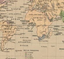 Vintage Map of The World (1880) Sticker