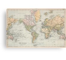 Vintage Map of The World (1892) Canvas Print