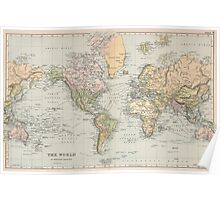 Vintage Map of The World (1892) Poster