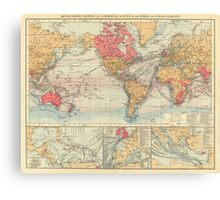 Vintage Map of The World (1895) 2 Canvas Print