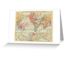 Vintage Map of The World (1895) 2 Greeting Card