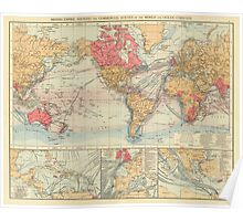 Vintage Map of The World (1895) 2 Poster