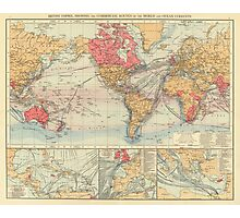 Vintage Map of The World (1895) 2 Photographic Print