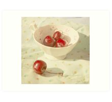 Cherries in a cup still life photography Art Print