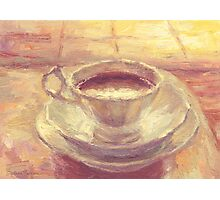 Coffee cup still life oil painting Photographic Print